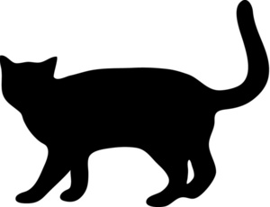 Cat Silhouette Clipart Image   Cat Walking With Tail Up In A