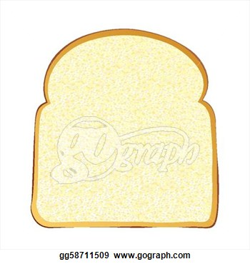Clip Art   Single Slice Of Wholemeal White Bread With Crust  Stock