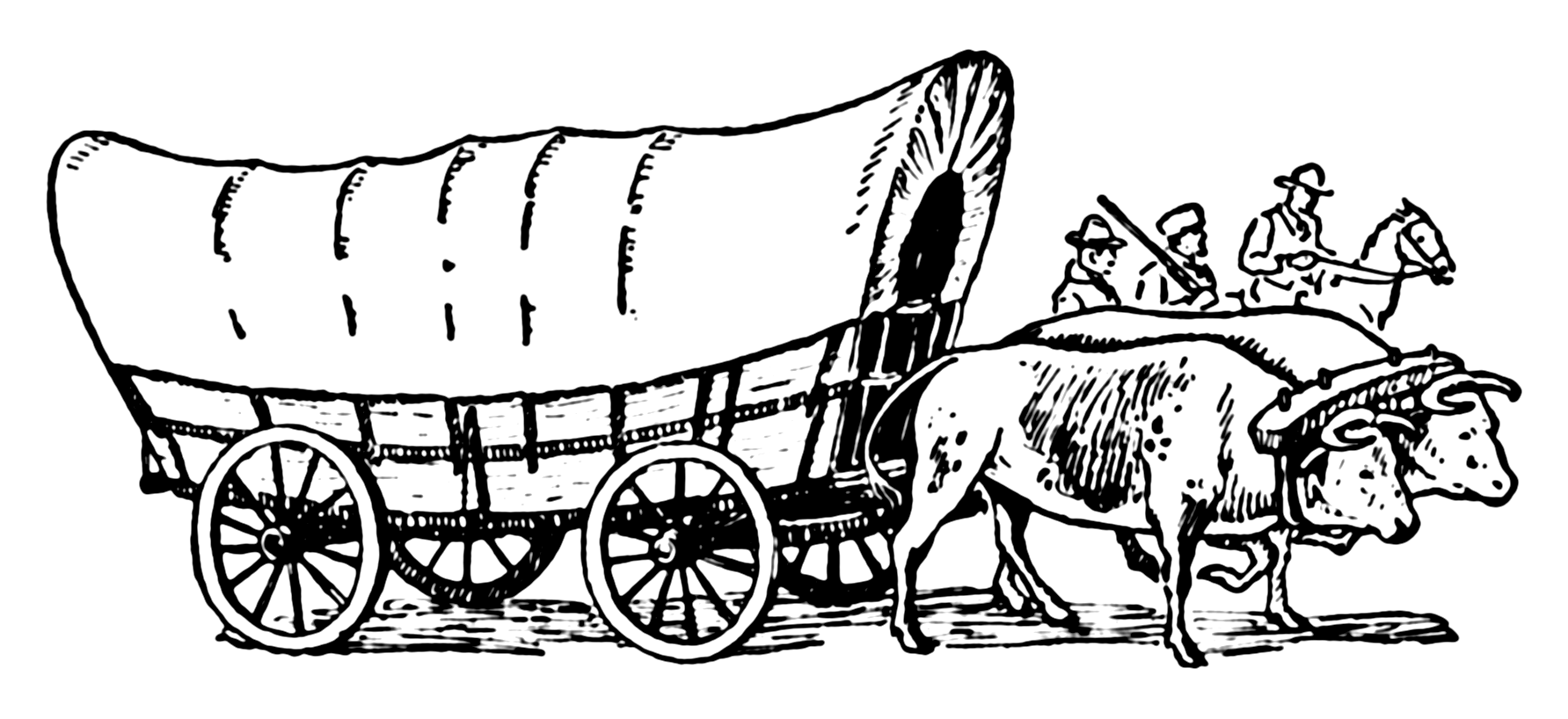Western Wagons With Horses Clipart - Clipart Suggest