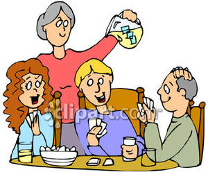 Family Playing Games Together Clip Art Family Playing A Card Game