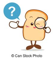 Happy Smile Searching Something Slice Of Bread Cartoon Vector Clipart