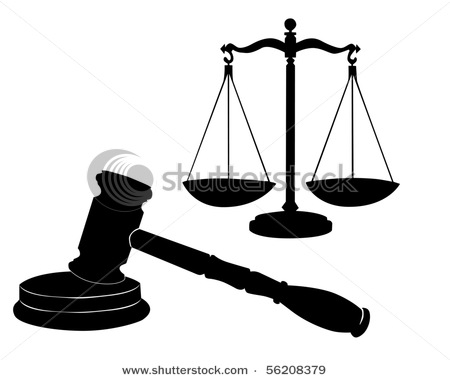 Justice Symbols Including A Judge S Gavel Or Mallet And The Scales Of