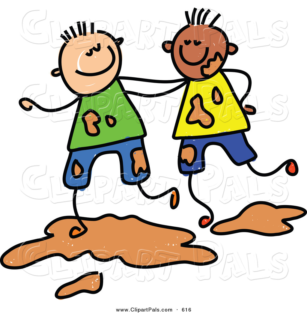 Playing Together In Mud Cute Black Boy And Girl Playing With Toys On A