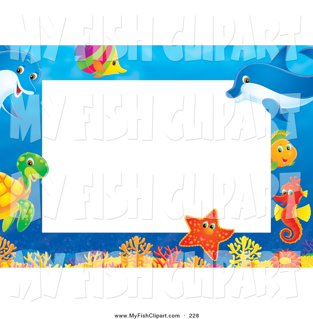Sea Creatures Border Clipart Clip Art Of A Pretty