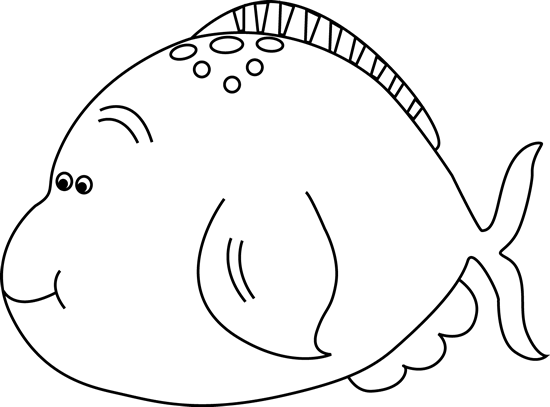 And White Cute Fat Fish Clip Art   Black And White Cute Fat Fish Image