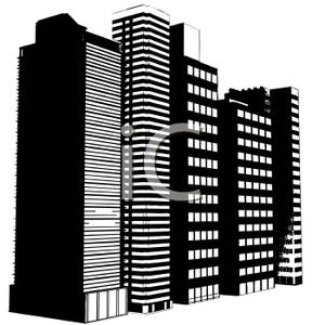 Black And White Office Buildings   Royalty Free Clipart Picture