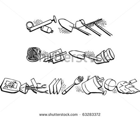 Border 2   Garden Equipment   Retro Clipart Illustration   63283372