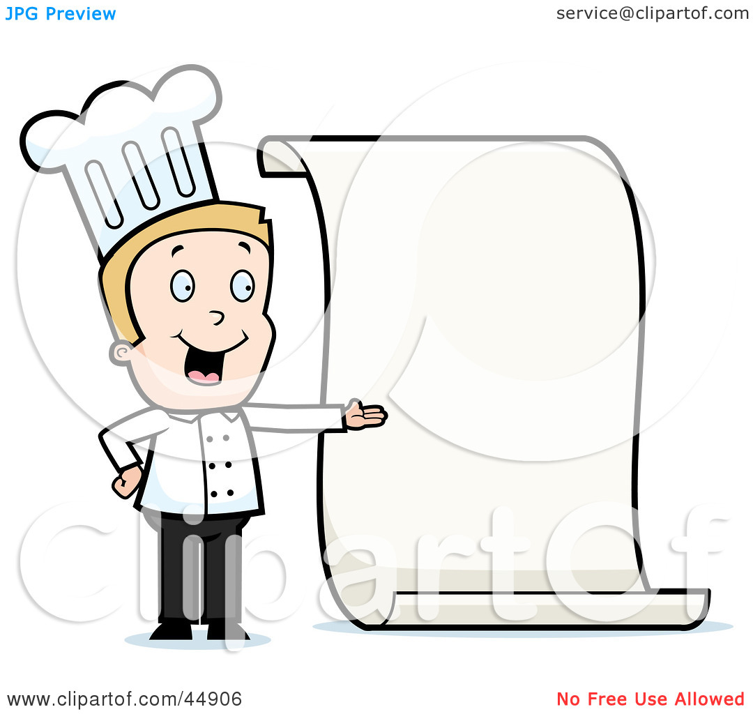 Chef With Menu Clipart - Clipart Kid