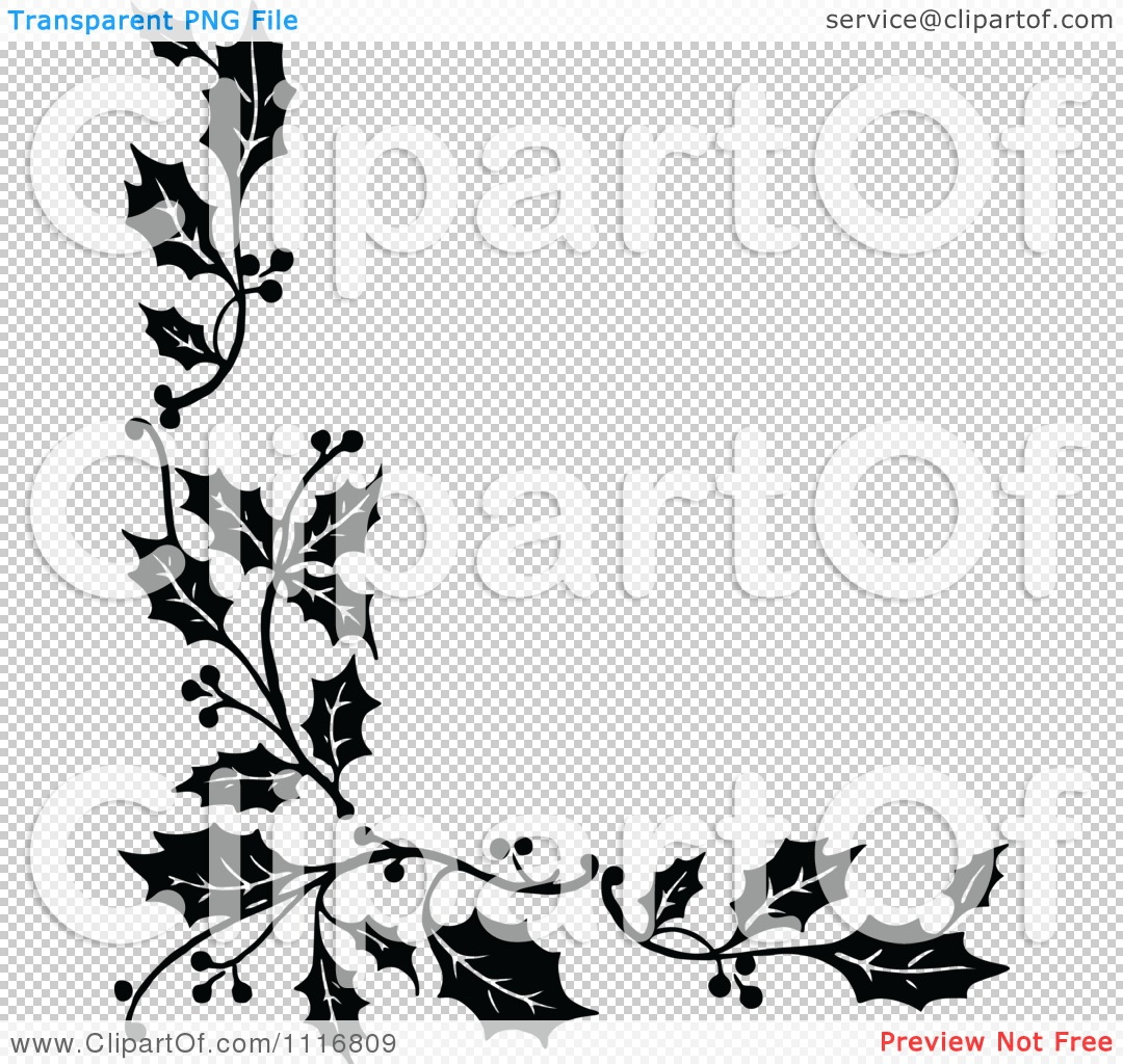 Clipart Retro Vintage Black And White Corner Border Of Christmas Image
