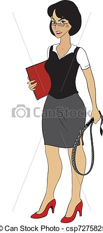 Clipart Vector Of Strict Business Lady With Wip   Very Strict Business