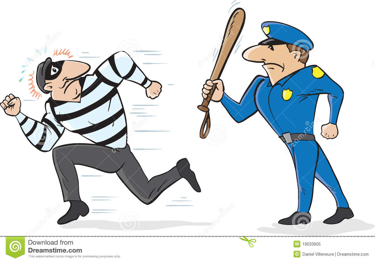 Cop Chasing Burglar Royalty Free Stock Photo   Image  19033605