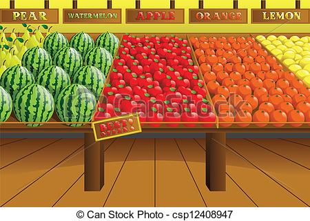 Eps Vector Of Grocery Store Produce Aisle   A Vector Illustration Of