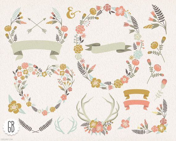 Floral Wreaths Heart Antlers Pastel Color Clip Art Vector Laurels