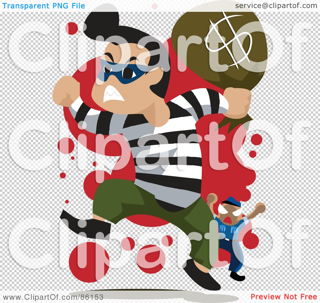 Free  Rf  Clipart Illustration Of A Bank Robber Running With A Bag