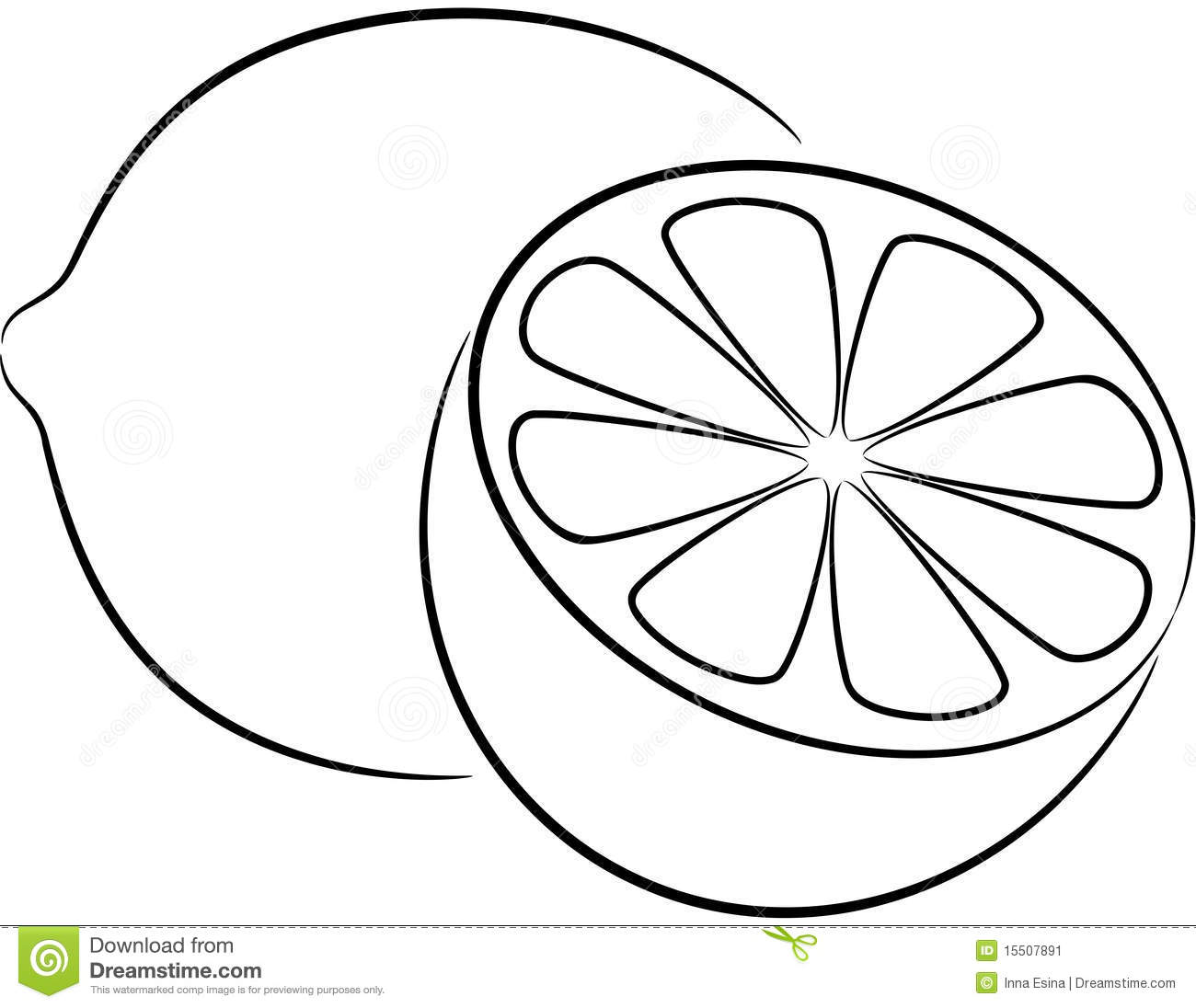 Orange Wedge Clipart Black And White Lemon Slice Cl