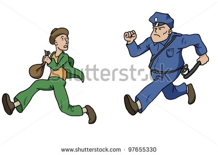 Policeman Chasing Robber Stock Photo 97655330   Shutterstock