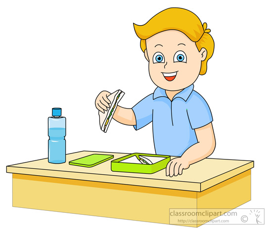 School   Boy Eating Sandwich From Lunch Box   Classroom Clipart