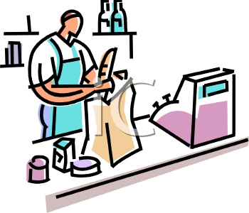 This Clerk Bagging Groceries At A Check Out Stand Clipart Image Can