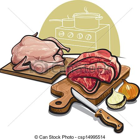 Vector Clip Art Of Raw Meat Csp14995514   Search Clipart Illustration