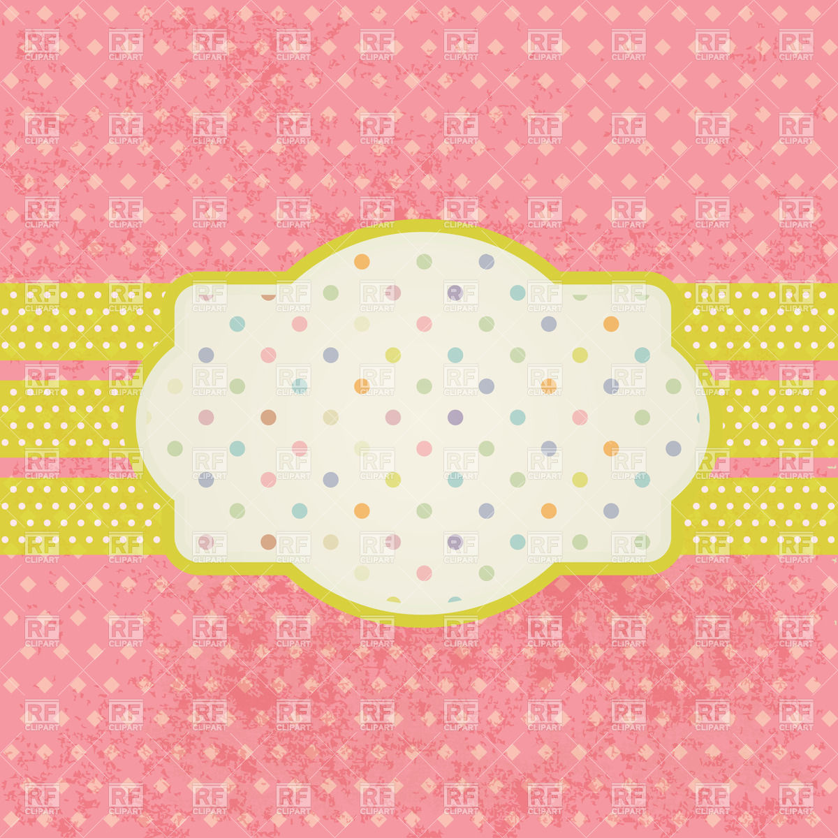 Vintage Frame For Text On Polka Dot Background 22832 Borders And
