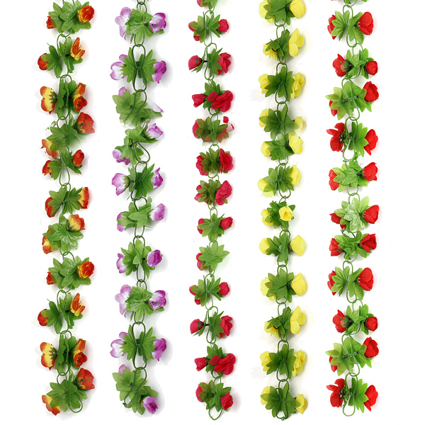 2m Artificial Rose Garland Vine Silk Flower Green Leaf Home Wall Decor