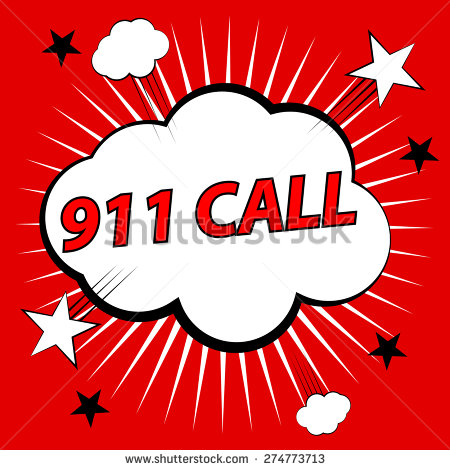911 Call Vector Illustration Stock Clipart