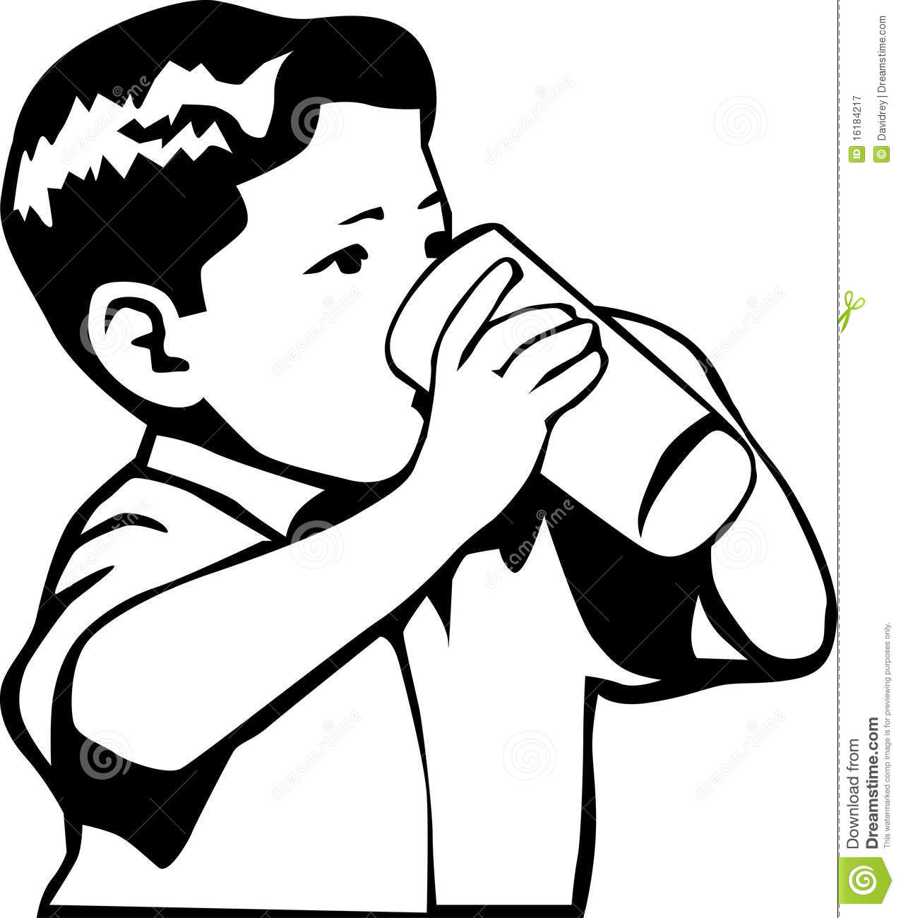 And White Retro Style Illustration Of A Boy Drinking Water Or Milk