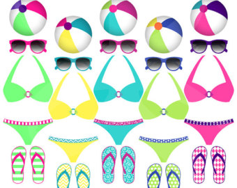 Beach Balls Bikinis Sunglasses Beach Pool Party Instant Download Clip