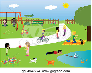 Clip Art   Children Playing In The Park  Stock Illustration Gg54947774