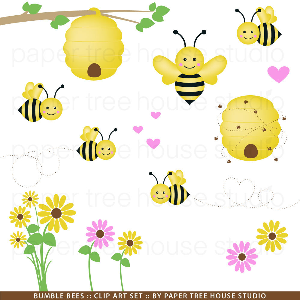 Clip Art Set Bumble Bees Hearts And By Papertreehousestudio