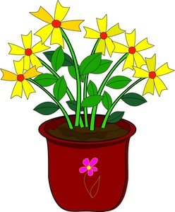 Daisies Clipart Image   Yellow Daisy Flowers In A Pot   House Plants