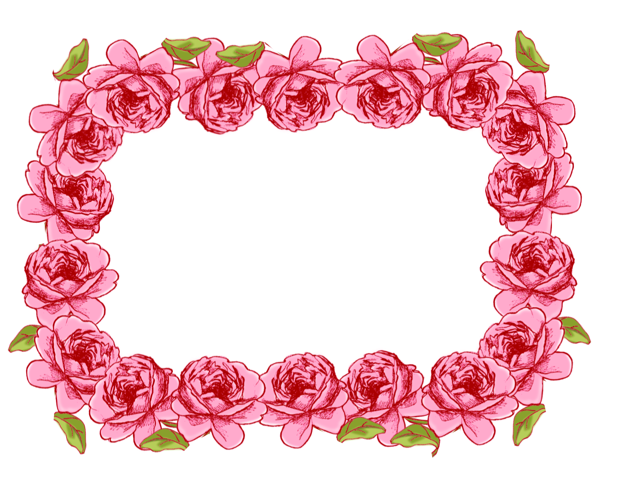 Free Faux Vintage Roses Frame And Borders Png   Rosenrahmen Png