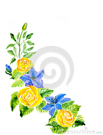 Hand Painted Watercolor Illustration Flowers Tea Rose And Blue