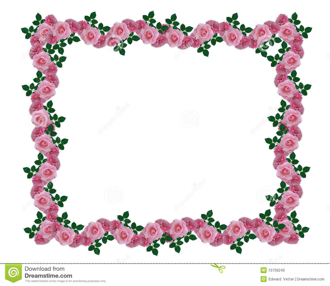 Image And Illustration Composition Of Pink Roses Garland For Wedding