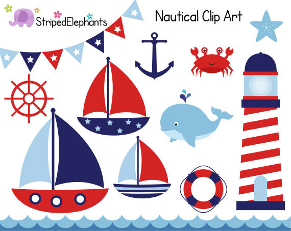 Nautical Clip Art Sail Boat Clipart Red And Navy Digital Clipart