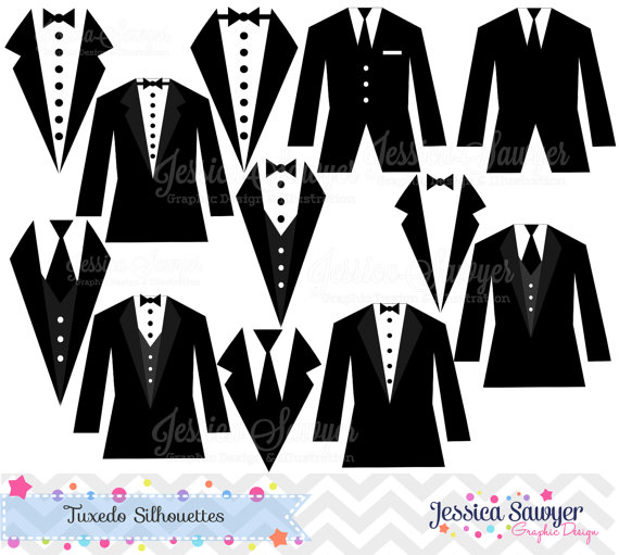 Off   Instant Download Tuxedo Silhouettes Clipart Silhouette Clipart