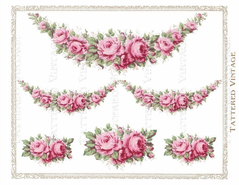 Pink Roses Garland Instant Download No 231 Png By Tatteredvintage