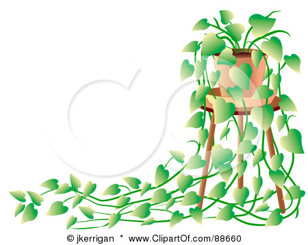 Royalty Free Rf Clipart Illustration Of A Green House Plant On A Stool