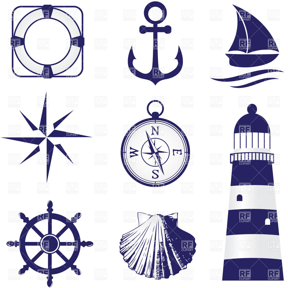 Set Of Vintage Nautical Labels Icons And Design Elements 26088