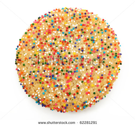 Sugar Cookie With Sprinkles Isolated On White Stock Photo 62281291