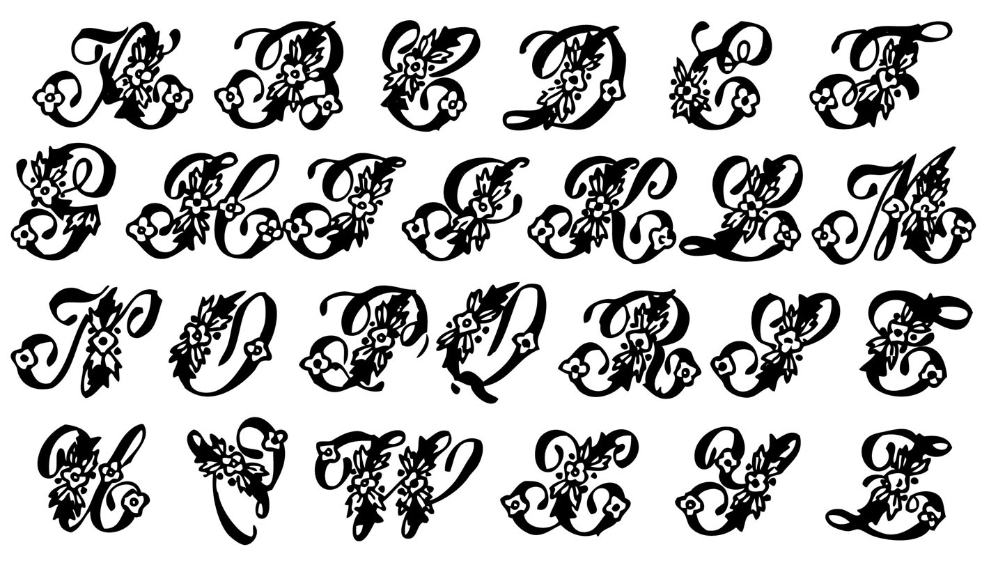 vintage clip art beautiful monogram alphabet the graphics fairy