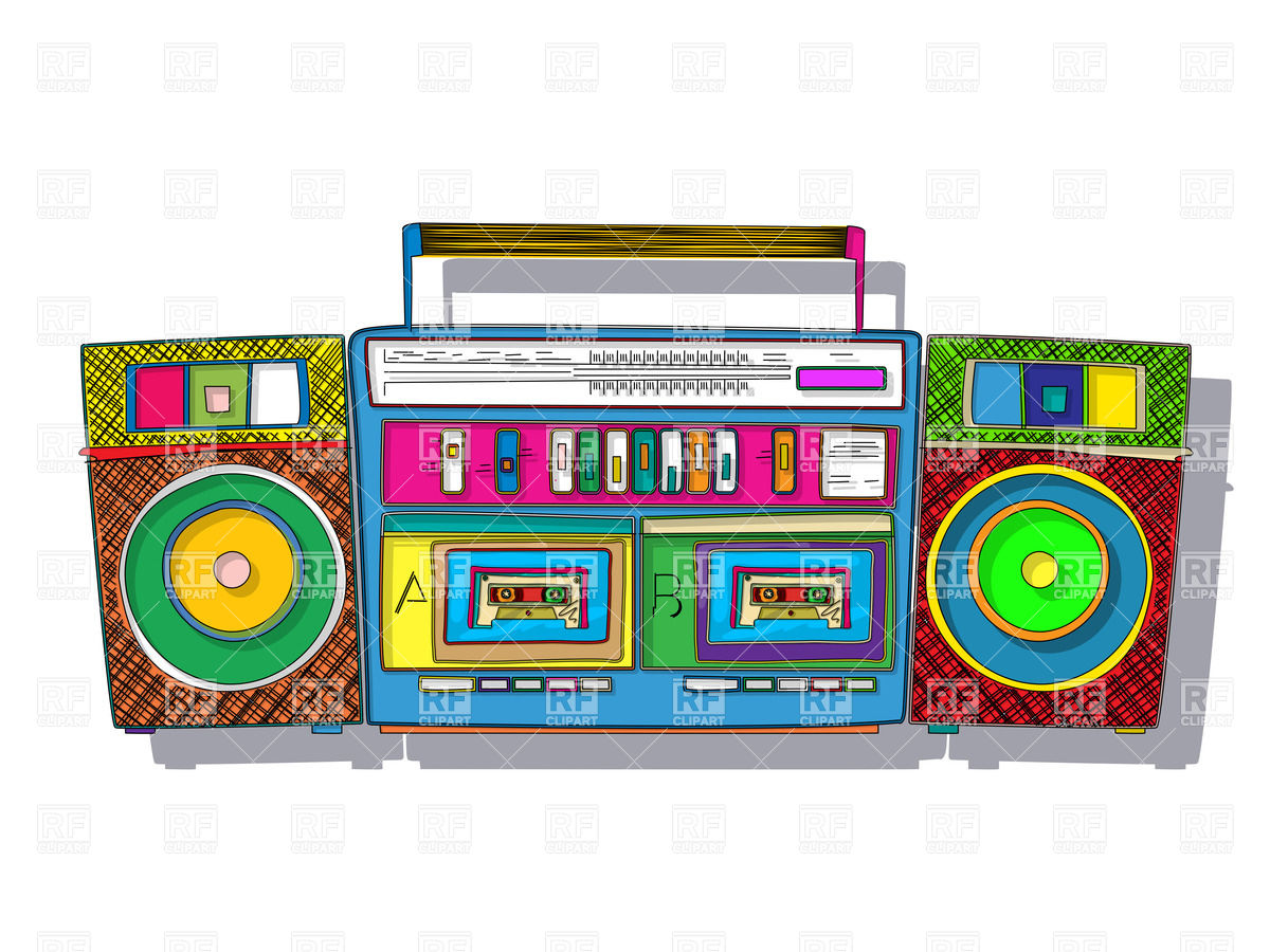 Vintage Stereo Double Tape Cassette Player Pop Art Boombox Download