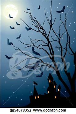 With A Tree In A Full Moon On The Eve Of Halloween  Clipart Gg54678352