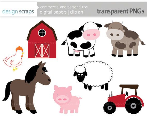 Animal Patterns Clipart Commercial Clip Art Baby Farm Animals Art