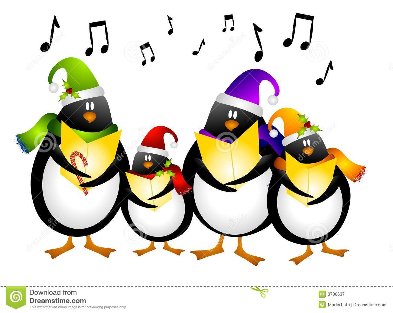 Art Illustration Of A Cartoonish Group Of Singing Penguin Christmas