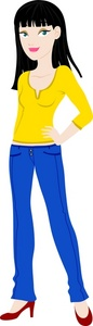 Brunette Woman Clipart Image   A Young Woman Wearing Jeans And A Half