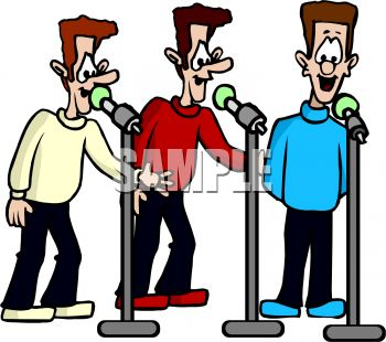 Cartoon Of Three Men Singing Harmony   Royalty Free Clipart Picture