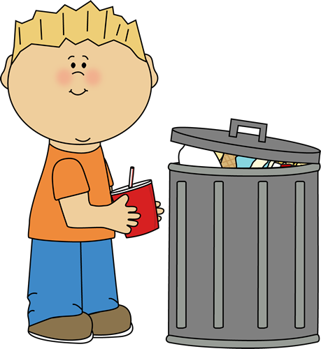 Clip Art Image   Kid Picking Up Trash And Placing It Into A Trash Can