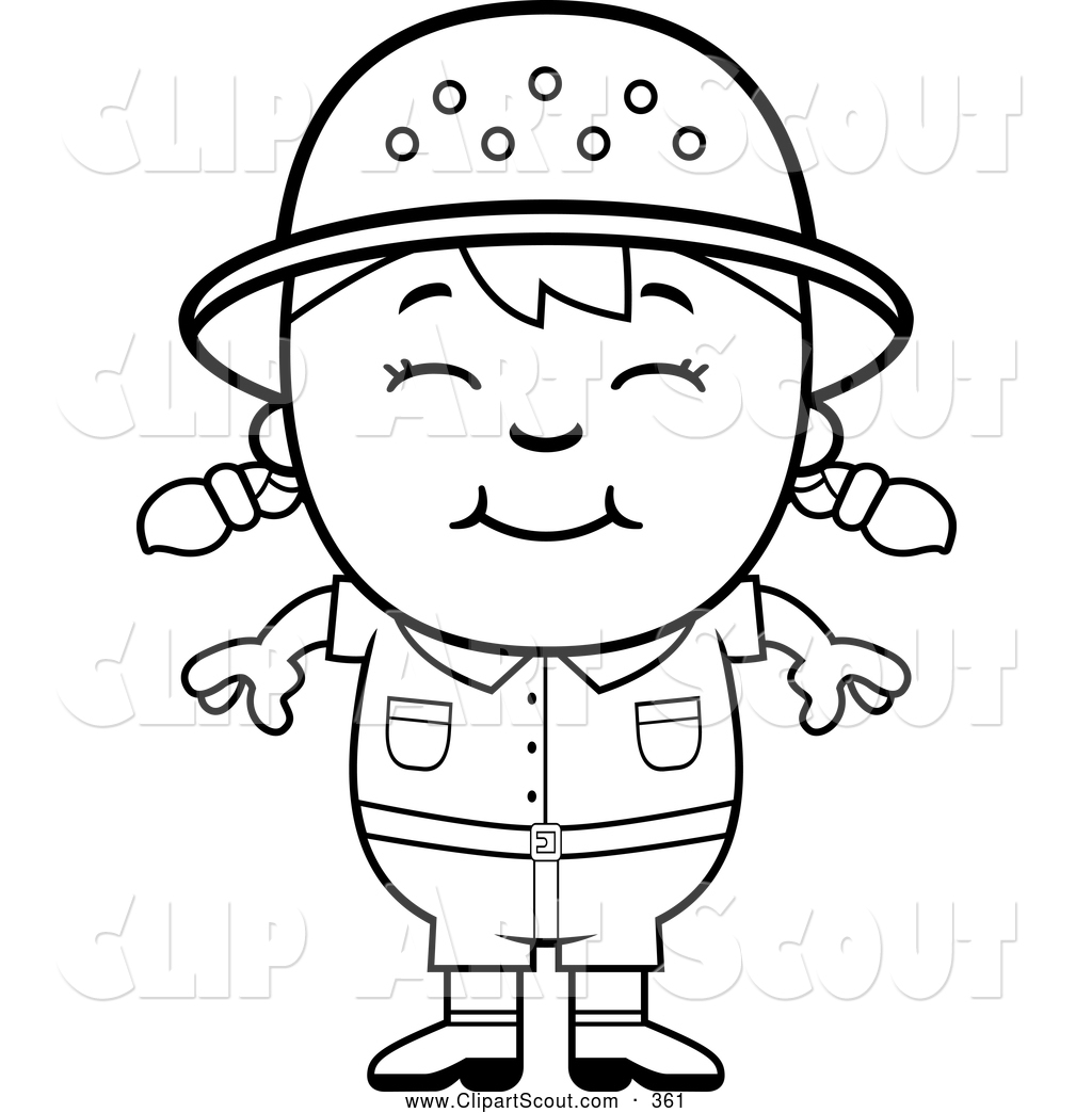 Clipart Of A Cute Black And White Happy Safari Girl By Cory Thoman