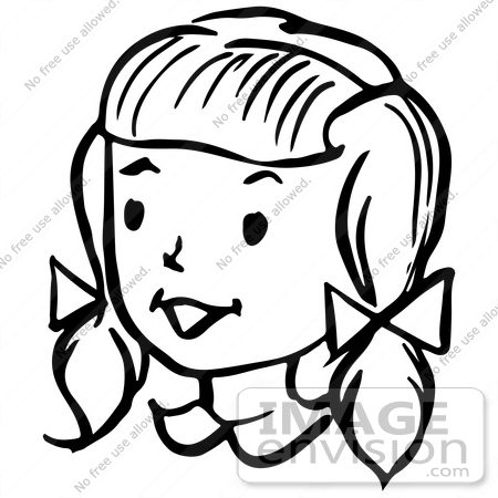Clipart Of A Happy Retro Girl In Black And White   Royalty Free Vector